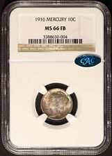 1916 Mercury Dime CAC & NGC MS66FB - Free Shipping USA