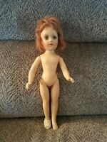 """Vintage 14"""" Composition Mary Hoyer Doll-Auburn Hair Open/Close Eyes Trunk Outfit"""
