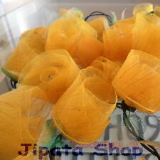 Yellow Rose Flower Rubber Leaf Party-Wedding-Decoration X-mas 110V Light String