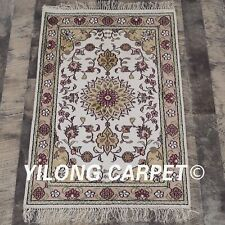 YILONG 2'x3' Ivory Handmade Silk Rug Kid Friendly Hand-knotted Home Carpet Y103C