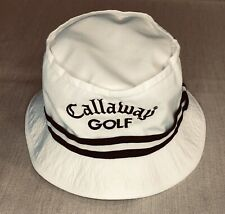 Vintage Callaway Golf Bucket Hat White Made in USA S/M Unihat Texace Off White
