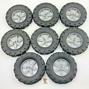 "8 Large Knex Large Modern Tires 3.5"" with Silver Spoke Hubs K'nex Parts 3 1/2"""