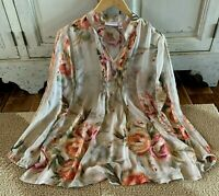 S Susan Graver Chiffon Boho Floral Vtg 70s Insp Peasant Top Blouse Size Small