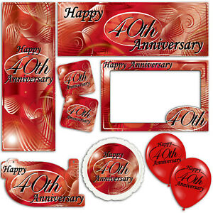 Happy 40th Ruby Anniversary Red Banners Decorations Balloons Party Supplies