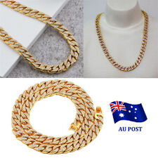 Gold Lab Diamond Cuban Chain Link Micropave Rose Iced Out Men Necklace MN