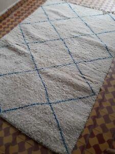 "Moroccan Rug Beni-ourain/ Handmade Berber Carpets Wool Rug 7'8""x 5'3"" Ft"