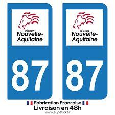2 STICKERS AUTOCOLLANT PLAQUE IMMATRICULATION DEPT 87 REGION Nouvelle-Aquitaine