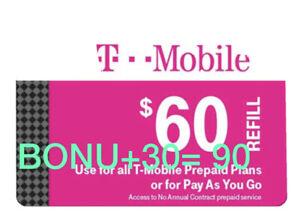 T-Mobile Prepaid Refill Card $60 (DIRECT REFILL)  Comes With Bonus $30