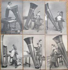 Tuba/Music Instrument & Boy 1902 SET OF SIX French Fantasy Postcards