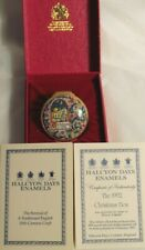 Halcyon Days Enamel Trinket Box Christmas 1992 England With Paperwork and Box