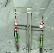 HANDCRAFTED GREEN GLASS BEADS &PINK FW PEARLS  Earrings