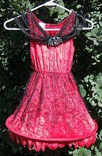 """Red 29"""" Velvet Lace Hoop Hem Costume Girls Dress"""