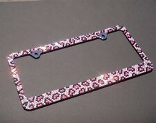 Bling Pink/Black Leopard Diamond Crystal METAL License Plate Frame+Bling Cap