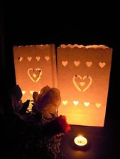 10 Heart Candle White Paper Bag Lantern Wedding Event Deco Night Party FREE POST