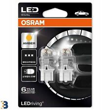 OSRAM W21/5W 580 T20 12V LED Amber Exterior Bulbs 7915YE-02B Double Blister