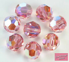 6x Swarovski Crystal 5000 Light Rose AB 10mm Round Pink Beads - Original Box