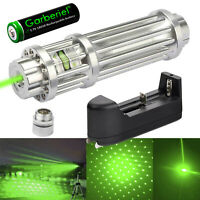 Tactical 532nm Green Laser Pointer Pen Zoom Visible Beam Light + 18650 +Charger