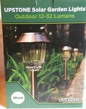Solar Garden Lights Glass Stainless Steel Outdoor Pathway Yard Garden 2 Pack