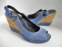 Stuart Weitzman Light Blue Denim Straw Espadrille Platform Wedge Heel 9.5 M