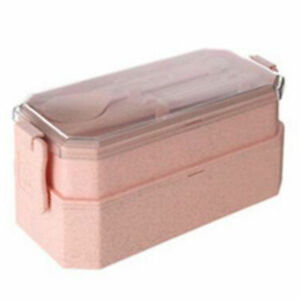 Kids Adults Double Stackable Bento Box Sealed Separated Lunch Box with Cutlery J