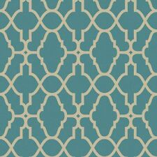 TEAL / GOLD CASABLANCA TRELLIS FRETWORK WALLPAPER - RASCH 309324 NEW