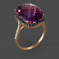 Luxury Huge Oval Cut Amethyst CZ Ring 18K Rose Gold Fashion Womens Jewelry Gifts