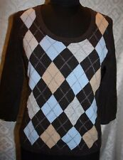 Fiona 2 ply Cashmere Sweater L Brown Argyle Print Womens 3/4 Sleeves Round Neck
