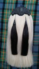 Piper Kilt Sporran Original White & Black Horse Hair Thistle Cantle/Kilt Sporran