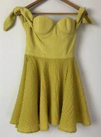 ASILIO beautiful Citrus Samba Mini A Line Corset Off Shoulder Tie Dress Size 8 6