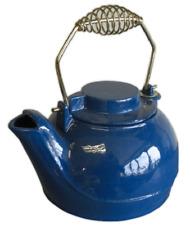 Fully Functional Enamel Cast Iron Kettle/Tea Pot In Blue For Stoves