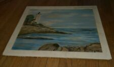 vintage acrylic Crescent Paint-A-Panel canvas board  lighthouse painting sea LO