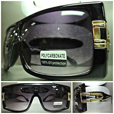 Men's or Women OVERSIZE VINTAGE RETRO Style PARTY SUN GLASSES Black & Gold Frame