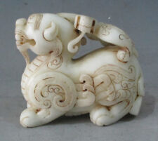 """4.3"""" Old Chinese White Jade Carved Feng Shui Pi Xiu (Pi Xie) Statue"""