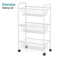 3-Tier Rolling Cart Basket Stand Oversize Full Metal Rolling Trolley for Kitchen