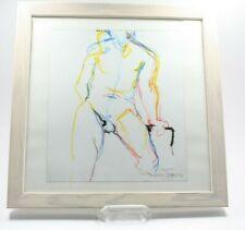 Pastell Akt Mann Erotik Gay sig./dat. F. Jansens 28.03.2002 Holzrahmen (730)