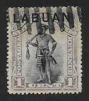 "Labuan -1896 North Borneo Stamp overprinted ""Labuan"" 1 Cent Fine Used (DX5)"