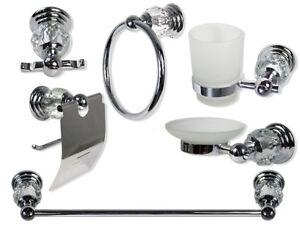 Set bagno acciaio vetro trasparente intagliato satinato 6pz portarotolo sapone
