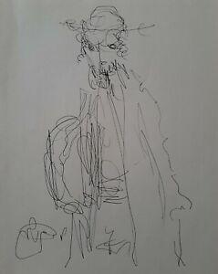 MOSHE BERNSTEIN (1920-2006), Ink on Paper, The Rabbi, Signed