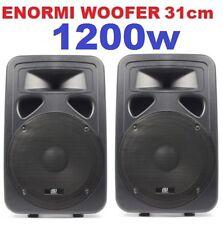 CASSE ACUSTICHE ATTIVE pro AMPLIFICATE 1200w woofer 31 DIFFUSORI MONITOR ABS
