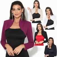 Womens Ladies Bolero Jacket Shrug Chiffon Long Sleeve Crop Top Blazer Coat Party