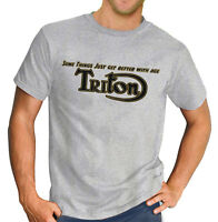 Triton Cafe Racer Vintage Classic T-Shirt Biker Motorcycle Retro Grey T-Shirt