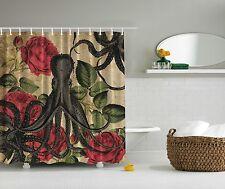 Octopus Rose Nautical Sea Ocean Beach Fabric Shower Curtain Digital Art Bathroom