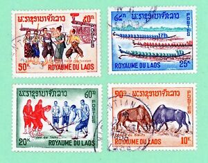 Laos 4 stamps, SC 118 - 121, Passtimes, 1965,  used