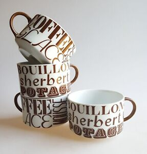 Vintage ceramic mug set soup bowl coffee cup ice cream retro typography design