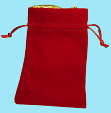 RED VELVET with LUXURY SATIN GOLD Lining DICE BAG NEW 4x6 Storage Pouch MDG Silk