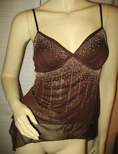FIRST KISS Womens Sleeveless Spaghetti Embellished Top Blouse M Chocolate Brown