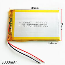 3.7V 3000mAh 405585 LiPo Polymer Rechargeable Battery For Power Bank Tablet PC