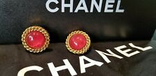 CHANEL Faux Ruby Cabochon & Gold Tone Clip-on Earrings