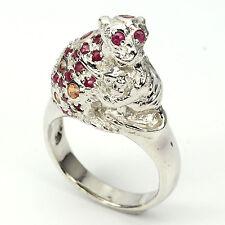 """Ring """"Affe mit Kind"""" Rubin Saphir 925 Silber 585 Weißgold Gr. 55"""