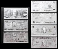 "★★ USA : COLLECTION 7 BILLETS POLYMER  "" ARGENT "" DE 1 A 100 DOLLARS  ★★"